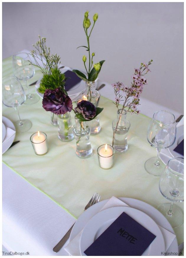 borddækning og bordpynt med bordløber i chiffon kreashop