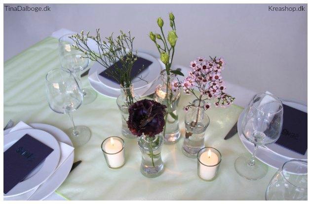 bordpynt og borddækning med chiffon bordløber kreashop