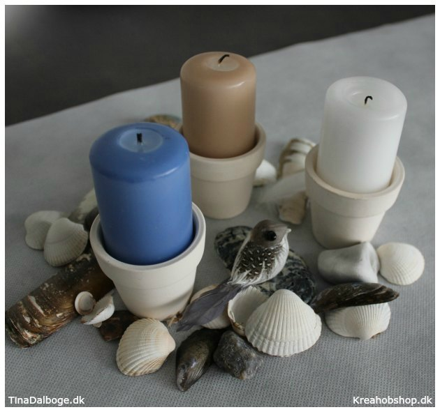 bordpynt og lys med natur og strand tinadalboge.dk materialer fra kreahobshop.dk