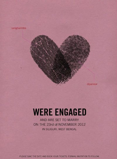 bryllupsindbydelse med fingeraftryk