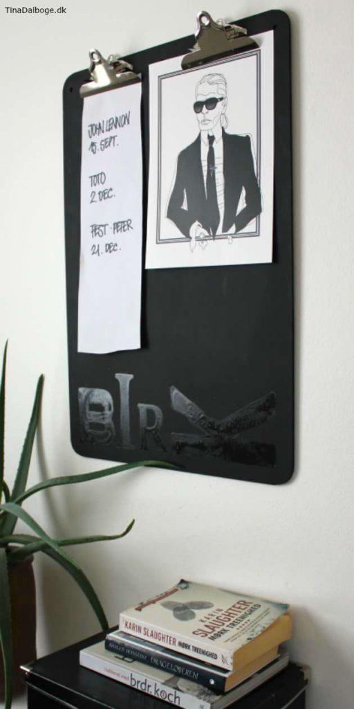 stort clipboard malet med tavlemaling go blank lak til vægdekoration