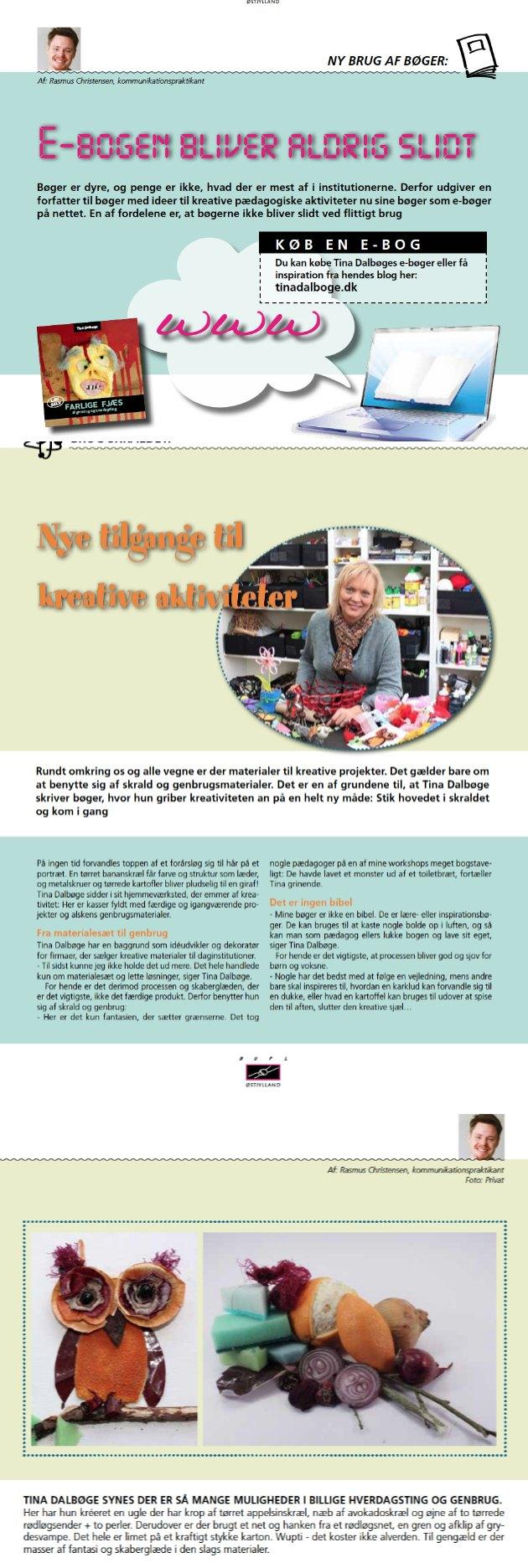 omtale af Tina Dalbøges ideer i BUPLs medlemsblad