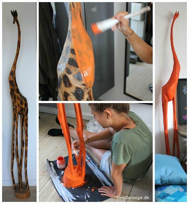 gammel træfigur malet med mat tavlemaling orange giraf