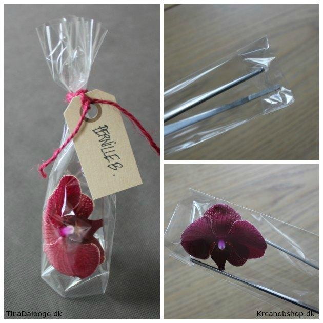 ide til bordkort på manillamærke blomster i cellofanpose fra kreahobshop