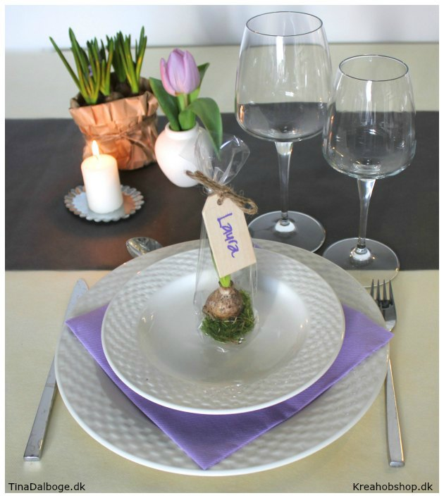 ide til bordpynt til forårs fest materialer fra kreahobshop.dk