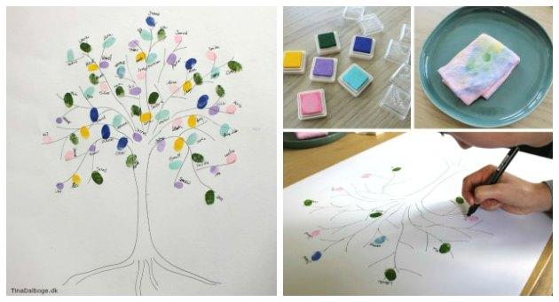 indslag til fest med gæstetræ med fingeraftryk af stempelpude fra kreahobshop