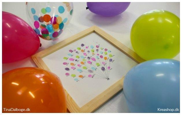 indslag til fest og konfirmation med fingeraftryk og stempelpuder balloner kreashop
