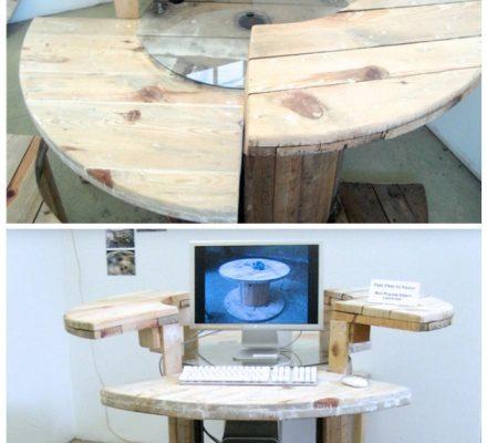 kabeltromle lavet om til computerbord