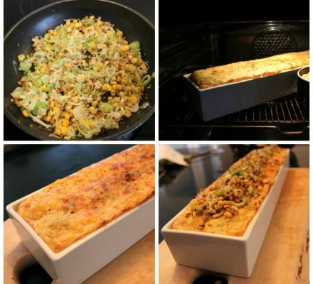 kartoffelmos med ost, majs, nødder og porrer