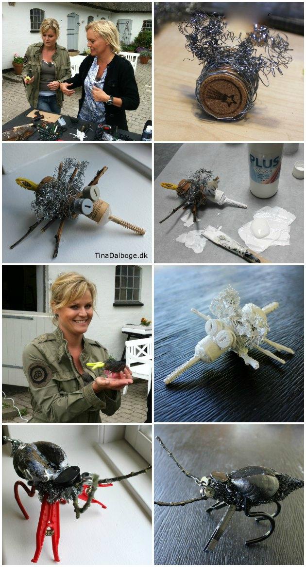 kreative insekter af ståltråd vist i TV2 fri frihuset af Tina Dalbøge og Cecilie Hother