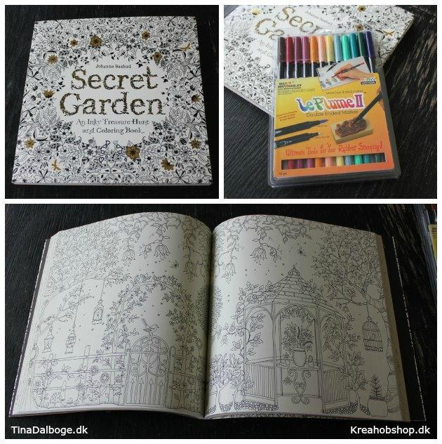 malebog secret garden og gode tuscher til antistress malebøger
