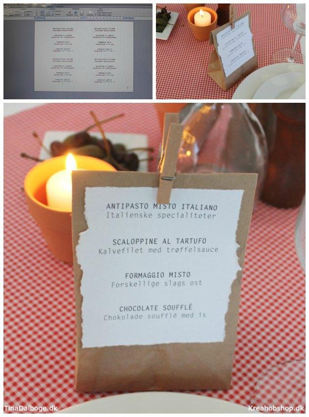 menukort til fest med italiensk tema brødpose til hver kuvert kreahobshop