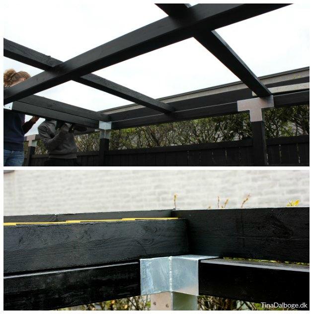 montering af plastplader overdækning af terrasse
