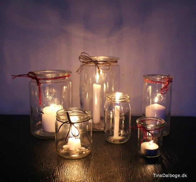 nye og gamle glas brug til julepynt med stearinlys