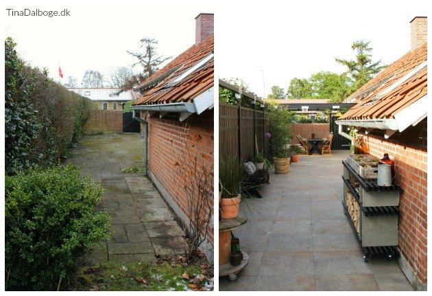 ombygning af terrasse med hegn og fliser tinadalboge
