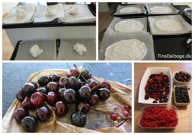 opskrift på let og lækker sommerkage med marengs og danske kirsebær, ribs og solbær