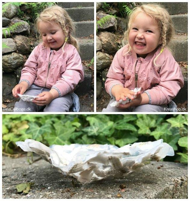 skål lavet af paverpol og muslingeskaller af et mindre barn tinadalboge
