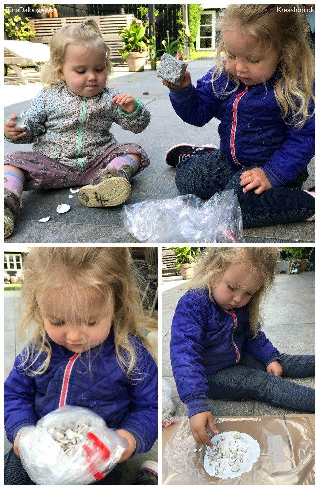 små børn laver diy skål af strandskaller tinadalboge