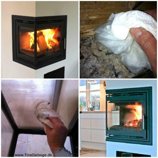 hvordan fjerner man sod på brændeovnens glas