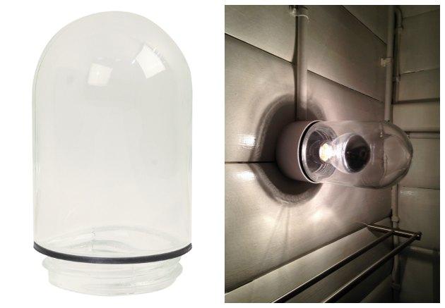 staldglas til kupellampe i badeværelse