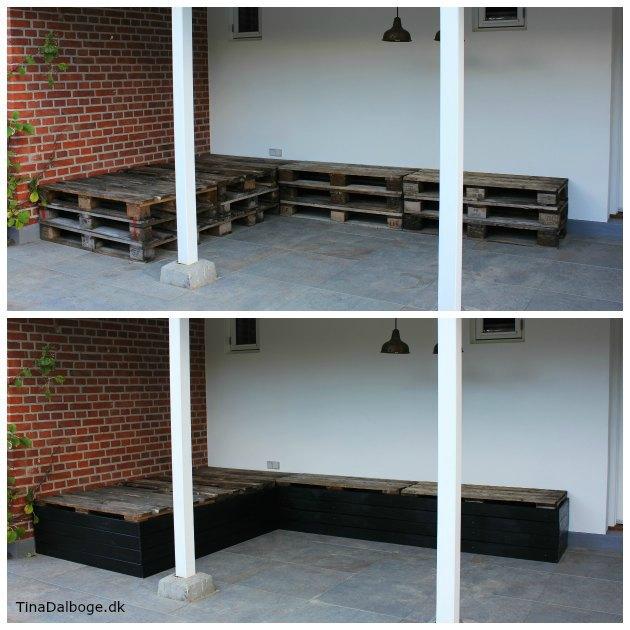 terrasse med paller der bliver beklædt med brædder og skruet på eu-paller