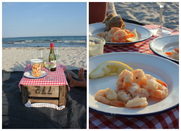 tigerrejer stegt i ingefær, chili og hvidløg - forret og picnic på stranden i Risskov v. Aarhus