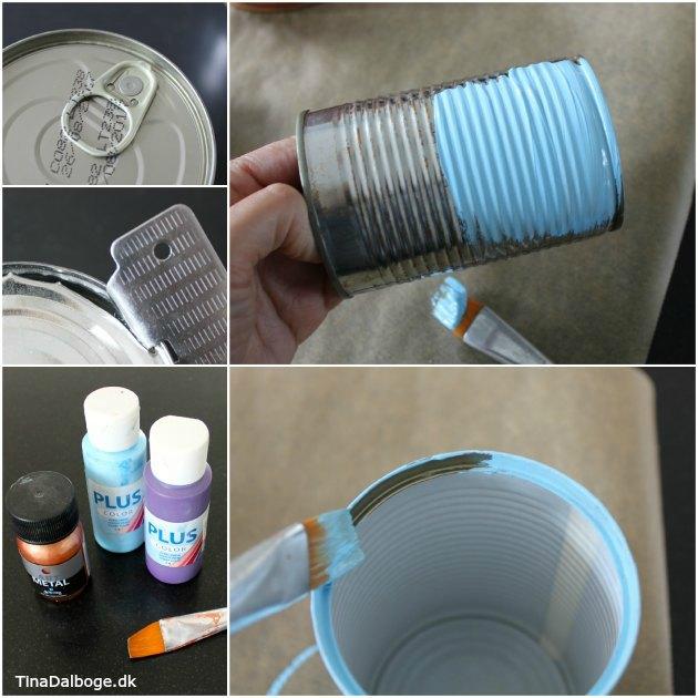 udelys og haveblus lavet i konservesdåser med væge og stearin